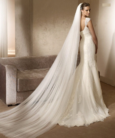 2011 mermaid wedding dress pronovias romantic ivory lace cap sleeves with veil