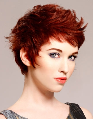 Red Short Funky Hairstyle